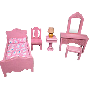 Vintage Dollhouse Furniture - Strombecker Bedroom Set from 1934 - 3/4 Scale