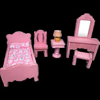 Vintage Dollhouse Furniture - Strombecker Bedroom Set from 1934 - 3/4 Scale