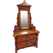 "Antique Dollhouse Furniture - Schneegas Golden Oak 5 Drawer Dresser with Swivel Mirror - Large 1"" Scale"