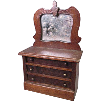 "Vintage Dollhouse Furniture - Wooden Mirrored 3 Drawer Dresser - Large 1"" Scale"