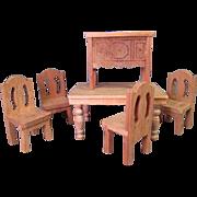 "Vintage Dollhouse Furniture - Strombecker Unfinished Dining Room Set - 1935-36 - 3/4"" Scale"