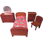 "vintage Dollhouse Furniture - Kage Bed Room Set - 3/4"" Scale - 1930's-40's"
