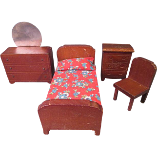 """vintage Dollhouse Furniture - Kage Bed Room Set - 3/4"""" Scale - 1930's-40's"""