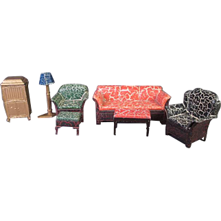 "Vintage Dollhouse Furniture - Tootsietoy 7 Piece Living Room Set - 1/2"" Scale"