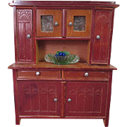 "Antique Dollhouse Furniture - German Hutch Cupboard - Large 1"" Scale"