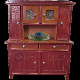 "Antique Dollhouse Furniture - German Hutch Cupboard - Large 1"" Scale"
