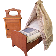 "Antique Dollhouse Furniture - Half Tester Bed with Bedding and Mirrored Cupboard - Made in Germany - Small 1"" or 3/4"" Scale"