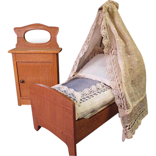 """Antique Dollhouse Furniture - Half Tester Bed with Bedding and Mirrored Cupboard - Made in Germany - Small 1"""" or 3/4"""" Scale"""