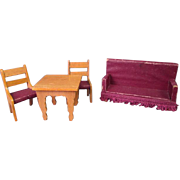 "German Dollhouse Furniture - Golden Oak Parlor Settee Table and 2 Chairs - 3/4"" Scale"