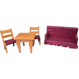 """German Dollhouse Furniture - Golden Oak Parlor Settee Table and 2 Chairs - 3/4"""" Scale"""