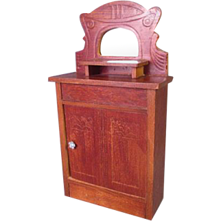 """Vintage Dollhouse Furniture - Tall Cupboard with Impressed Design and Mirror - Schneegas - 1"""" Scale"""