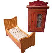 antique German Dollhouse Furniture - Child's Bed and Wardrobe - Small Size