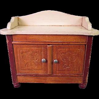 "Vintage German Dollhouse Furniture - Dining Room Cupboard or Sideboard - 1"" Scale"
