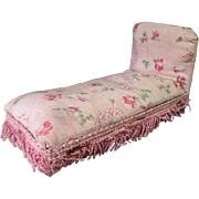 "Reserved for L - Vintage Dollhouse Furniture - Queen Anne Upholstered Chaise Lounge - 1"" Scale"