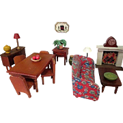 "Vintage Dollhouse Furniture - Kage Dining Room Set - 3/4"" Scale"