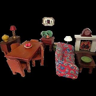 "Vintage Dollhouse Furniture - Kage Dining Room Set - 3/4"" Scale"