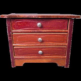 """Vintage German Dollhouse Furniture - Three Drawer Dresser - Schneegas - 1"""" Scale"""