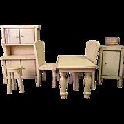 "Vintage Wooden Dollhouse Furniture - Strombecker Early Kitchen Set - 1"" Scale"