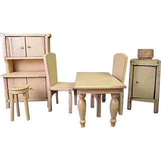 "Vintage Wooden Dollhouse Furniture - Strombecker Early Kitchen Set - 1"" Scale"