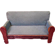 "Vintage Miniature Dollhouse Furniture - Settee Sofa - Made in Germany - Small 1"" Scale"