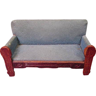 """Vintage Miniature Dollhouse Furniture - Settee Sofa - Made in Germany - Small 1"""" Scale"""