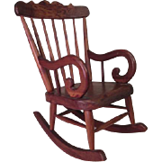 """Vintage Miniature Wooden Rocking Chair - Hand Made for Small Dolls - 8"""" Tall"""