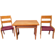 "Vintage German Dollhouse Furniture - Schneegas Table and 2 Chairs - Golden Oak Finish - Small 1"" Scale"