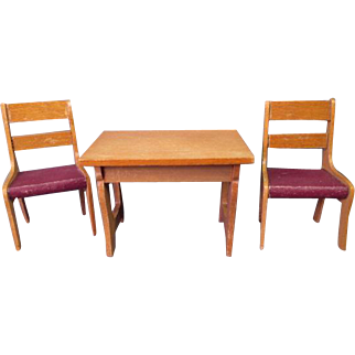 """Vintage German Dollhouse Furniture - Schneegas Table and 2 Chairs - Golden Oak Finish - Small 1"""" Scale"""