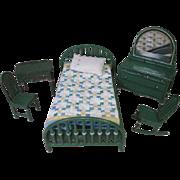 "Arcade Vintage Metal Dollhouse Furniture - Complete Bedroom Set in Green - 1 1/2"" Scale"
