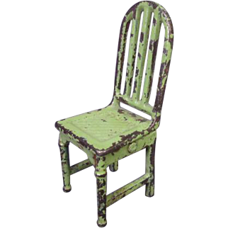 "Arcade Cast Iron Dollhouse Furniture  - Bedroom Chair in Green - 1 1/2"" Scale"