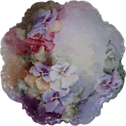 """Hand Painted Porcelain Cabinet Plate - Rosenthal Bavaria - Pansies - 9"""" in Diameter - FREE Domestic Shipping"""