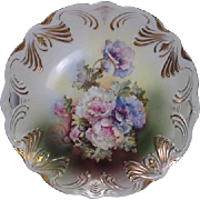 Ideal German Porcelain Cake Plate with Open Handles and Hand Painted Peonies