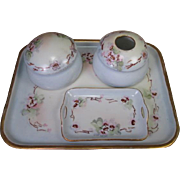 Limoges and Bavaria Porcelain 5 Piece Dresser Set - Hand Painted Wild Roses - 1914