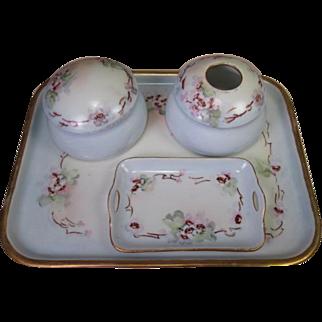 Limoges and Bavaria Porcelain 5 Piece Dresser Set - Hand Painted Wild Roses - 1914