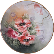 "Thomas Sevres Bavaria Porcelain Cabinet Plate - Hand painted Poppies - 7 5/8"" Diameter"