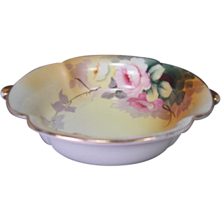 Noritake Morimura Porcelain Footed Bowl or Candy Dish - Hand Painted with Roses