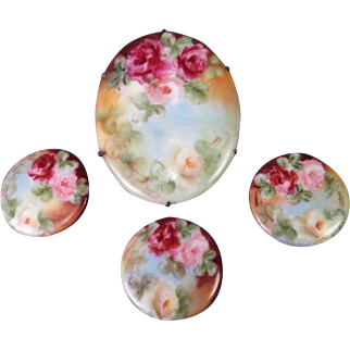 Porcelain Brooch and Button Studs - Hand Painted Roses