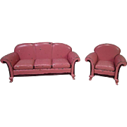 "Arcade Cast Iron Dollhouse Furniture - 'Karpen' Sofa and Chair - 1 1/2"" Scale"
