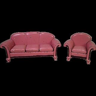 "Arcade Cast Iron Dollhouse Furniture - 'Karpen' Sofa and Chair - 1 1/2"" Scale"