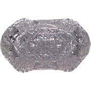 Cut Glass Crystal Relish or Candy Dish - American Brilliant Period - Harvard and Daisy Pattern