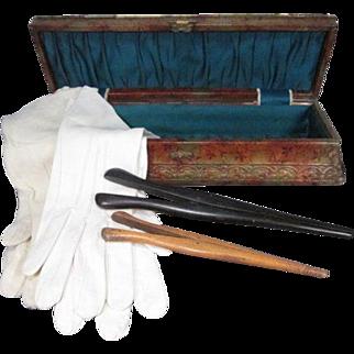 Celluloid Vanity Dresser Glove Box with 2 Pr Doeskin Gloves and 2 Glove Stretchers