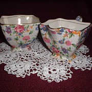 Royal Winton Old Cottage Chintz Creamer & Sugar Bowl