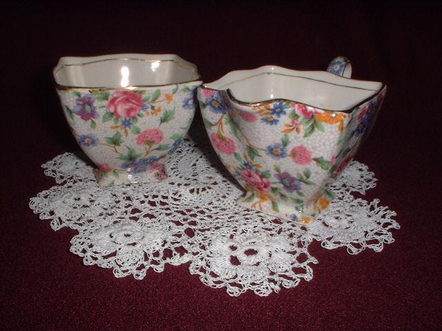 Royal Winton Old Cottage Chintz Creamer & Sugar Bowl