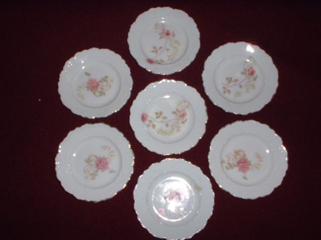 Porcelain Butter Pats with Rose Transfer, O. & E. Gutherz