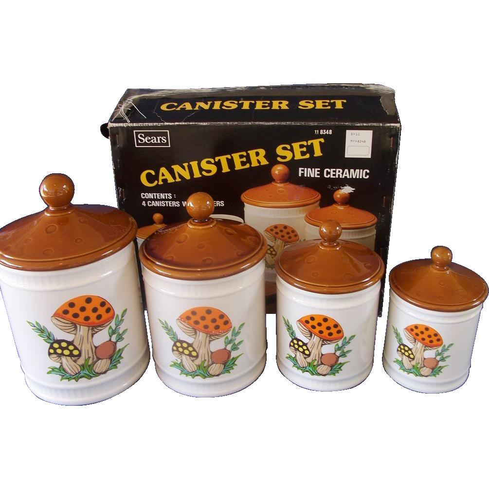 Sears Merry Mushroom Canister Set - Original Box