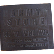 1940's Army Store Block Sign