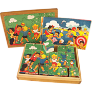 Vintage Children at Play Puzzle Blocks with Box