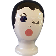 Vintage Woman Mannequin Head Display Stand