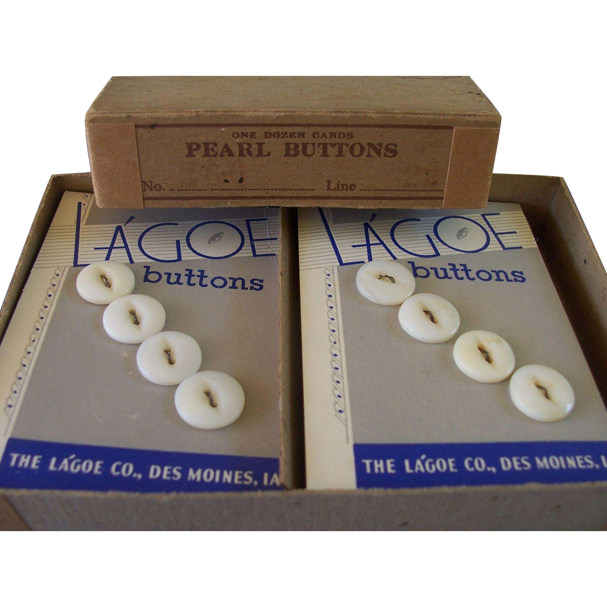 12 Cards Pearl Buttons in Box - NOS