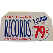 Vintage Tin Record Sign - NOS